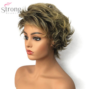 Image 2 - StrongBeauty Womens Synthetic Capless Wig Brown/Blonde Mix Pixie Cut Short Layered Haircut Hair Natural Wigs