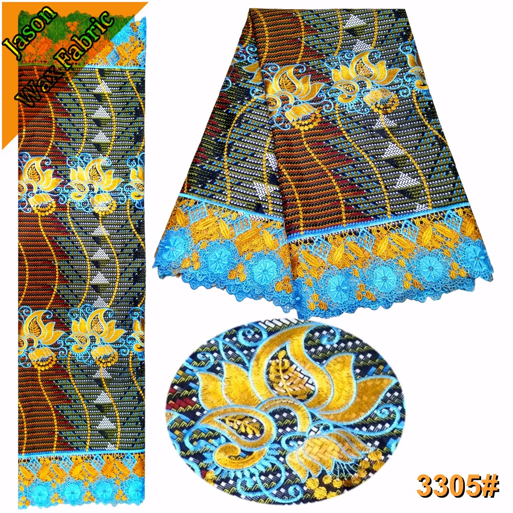 2018 Latest African Guipure Wax Fabric With Lace High Quality Polyester Embroidered Ankara Nigerian Lace Fabric/ LBL