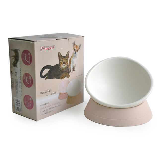 250ml Synthetic Rubber Inclined Angle Non-slip Cat Pet Dog Bowl Pink White Color  1pcs Newest 2017