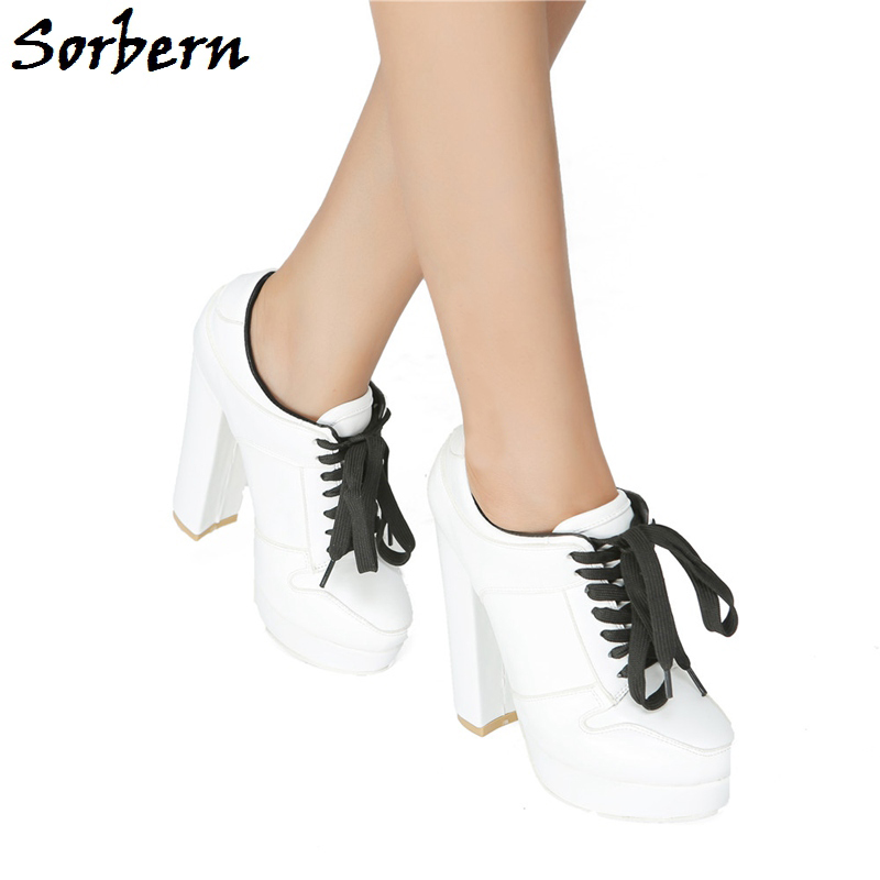 Sorbern Fashion Lace-Up Women Pumps High Quality Designer Brand Custom Made Color Sweet Party Shoes For Ladies Platform PumpsSorbern Fashion Lace-Up Women Pumps High Quality Designer Brand Custom Made Color Sweet Party Shoes For Ladies Platform Pumps