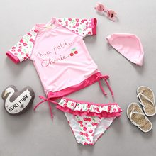 2aa9e822d63 2019 New Children Swimsuit Baby Girl Swimwear Short Sleeve Pink Cherry  Print UV Protection Girls Bikini Tankini Two Piece Suit