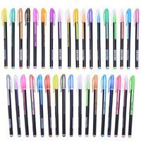 48Pcs Set Color Gel Pen Metallic Pastel Neon Glitter Sketch Drawing Writing Pen Marker Pens School