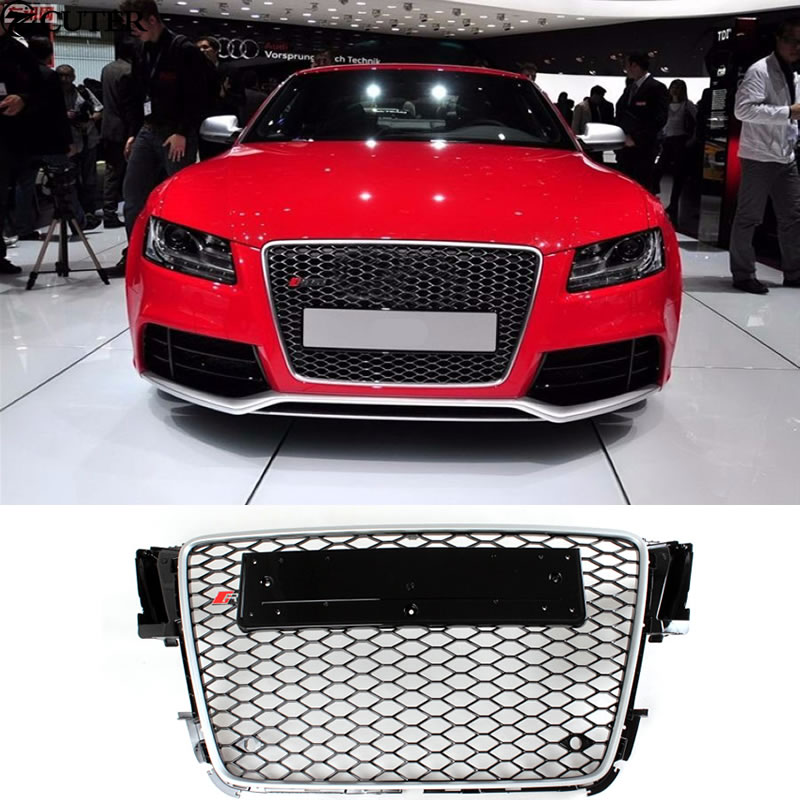 A5 Rs5 Car Styling Chrome Frame Honeycomb Front Mesh Grill