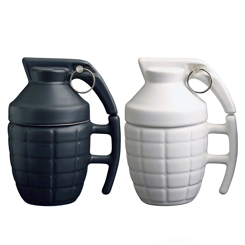 Creative 3D Grenade Coffee Mug with Lid Handle ...