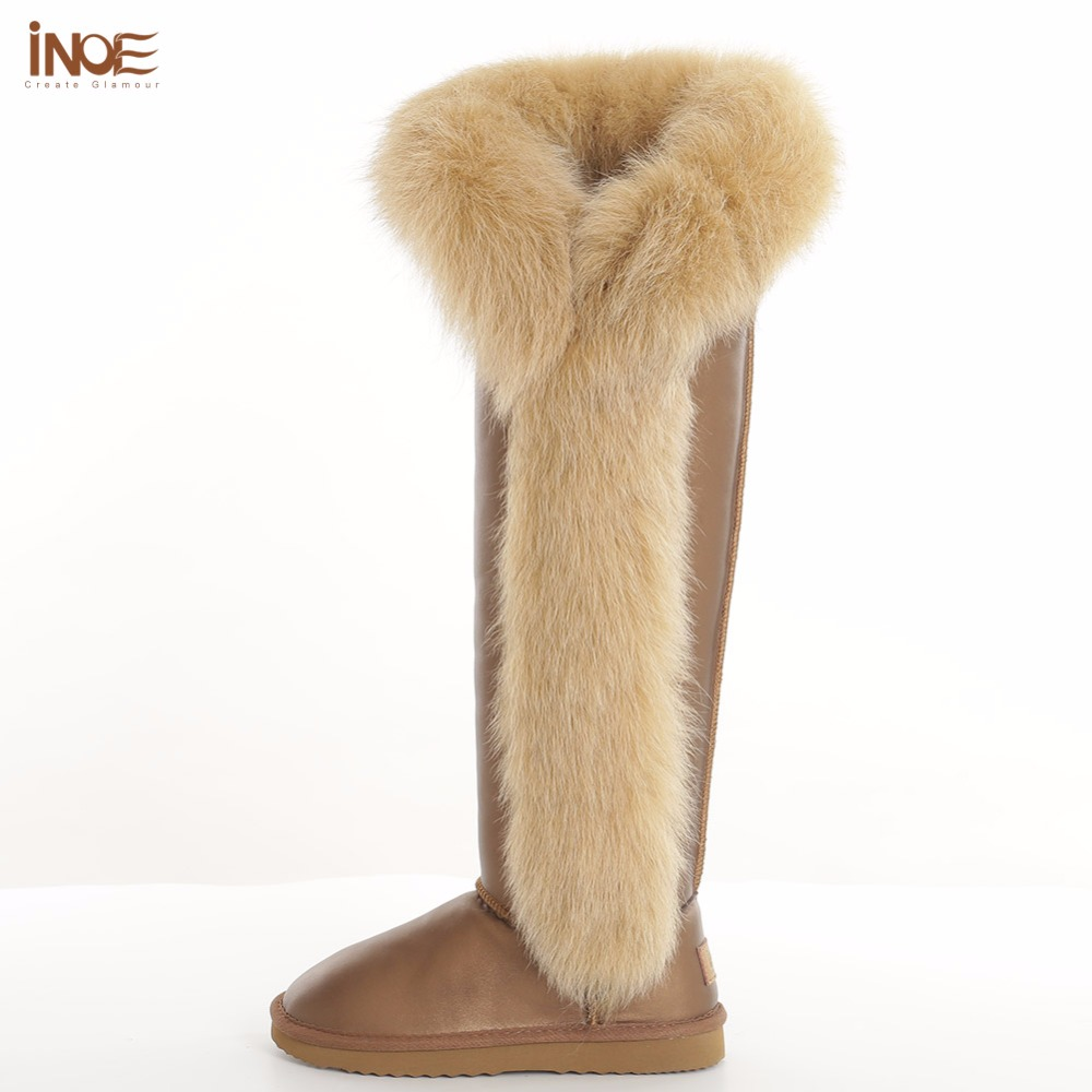 INOE  women boots fashion over-the-knee long shoes natural fox fur waterproof cow leather winter gold non-slip sole