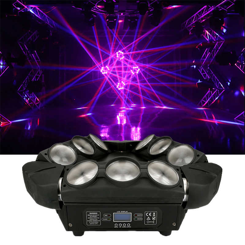 RGBW 4in1 9X12 W Segitiga Spider LED Beam Moving Head Light Colorful LED Beam Moving Head Lampu efek Yang Besar untuk Pesta