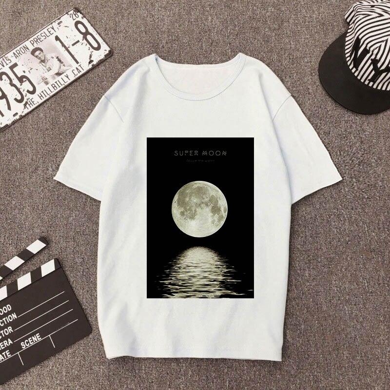 Женская футболка с принтом Луны, белая футболка с коротким рукавом Harajuku, лето 2019