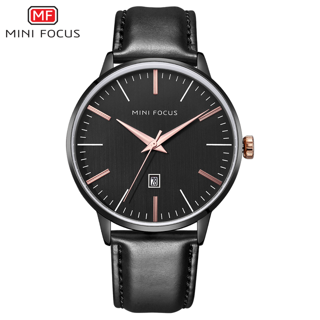 MINI FOCUS Brand Luxury Men's Watches Analog Quartz Watch Men Waterproof Black Leather Strap Fashion Casual Quartz Wristwatches