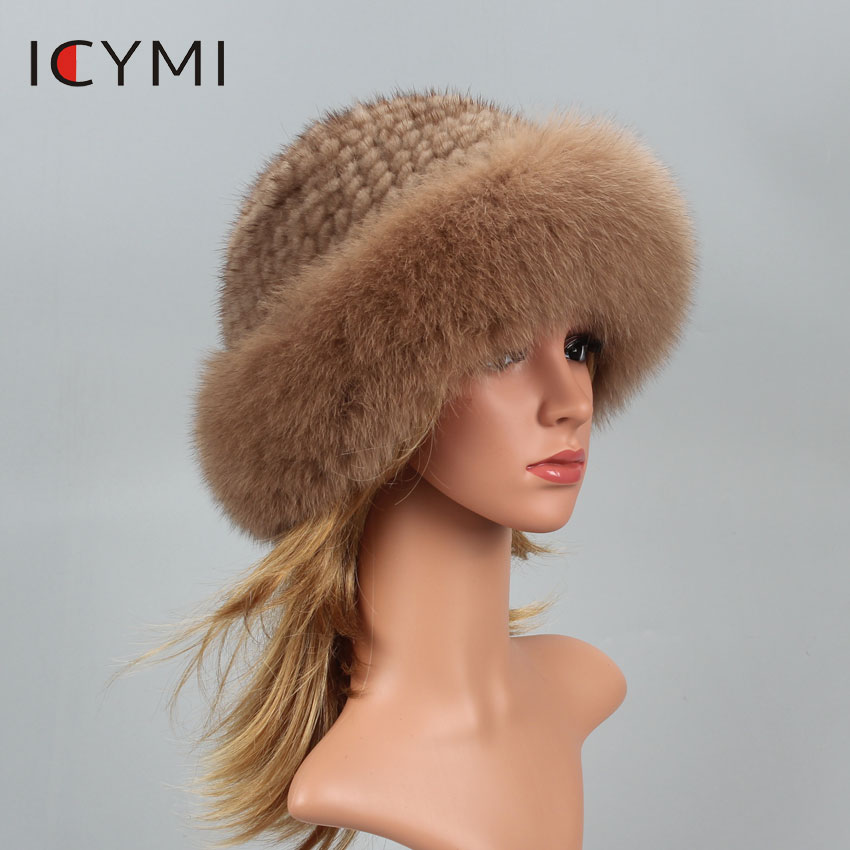 ICYMI Real Fur Hat Winter For Women's Caps Natural Mink Fur With Fox Fur Hat Luxury Brand New Russian Sun Knitting Buckets Hats