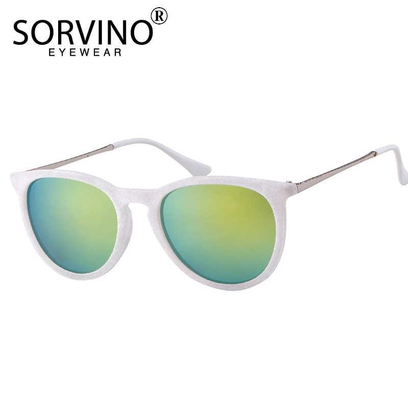 2a7d9068cd ... SORVINO Vintage Velvet Mirror Erika Sunglasses Women Men 2018 Brand  Designer Skinny Orange Oval Sun Glasses ...