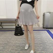 цена High Waist Pleated Chiffon Maternity Skirts 2018 Spring Summer Pregnancy Belly Pant Skirt Clothing for Pregnant Women SH-S070