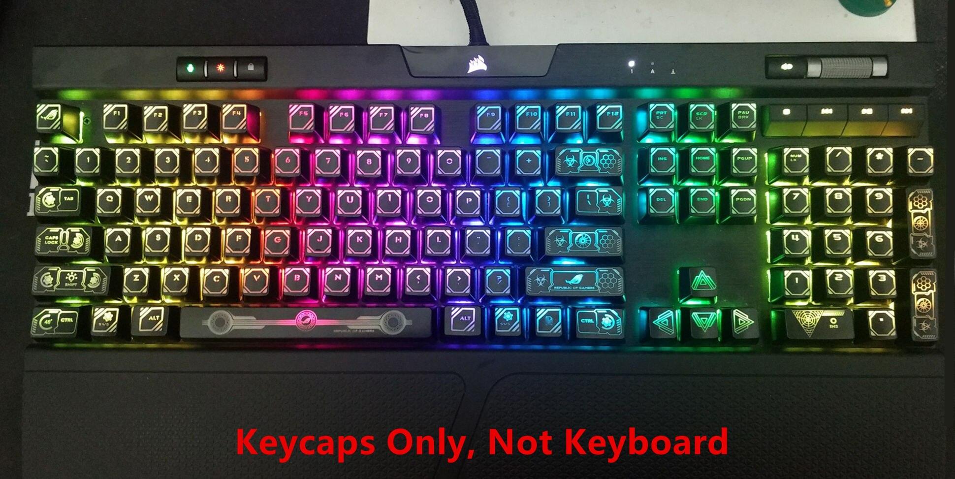 104 clés Laser rétro-éclairé Keycap Set Gaming Keycaps clé Cap pour Corsair K70 K65 RGB K95 Strafe mécanique MX Gaming clavier