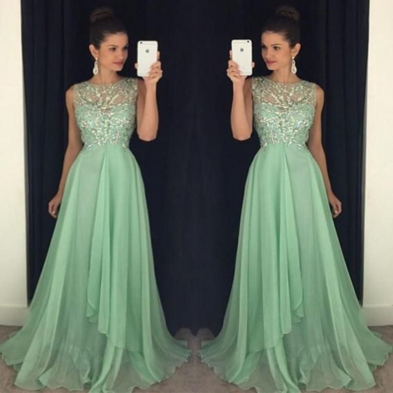 2017 Custom Made Mint Green Prom Dresses A Line Chiffon Sheer Neck ...