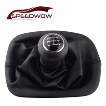 SPEEDWOW 5 Speed Manual Gear Shift Knob Lever Gaitor Boot Cover Collar Gear Shift Collars For VW PASSAT B5 B5.5 1996-2005 6 speed leather car manual gear mt shift knob gaitor boot for volkswagen vw passat b6