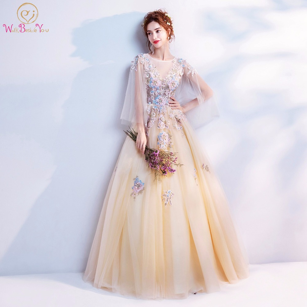 Walk Beside You Champagne Prom Dresses Applique Pearl Long A-line ...