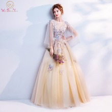 Walk Beside You Champagne Prom Dresses Applique Pearl Long A-line vestidos de graduacion cortos Evening Gown Real Photos Stock