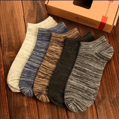 Riinr Brand Hot Sale !Socks Men 10 Pairs Combinations Comfortable Stripe 65% Cotton Compression Socks Harajuku Style Short Socks