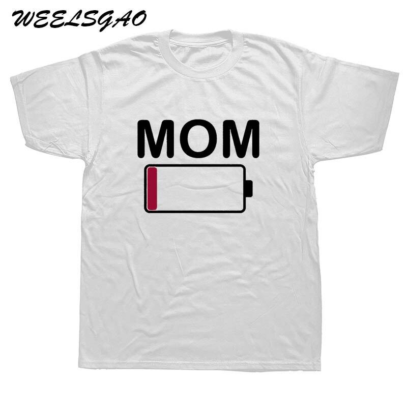 Weelsgao мама Батарея низкая забавные родителей мать мальчики в стиле хип-хоп классные футболки с коротким рукавом 100% хлопок человек Круглая го...