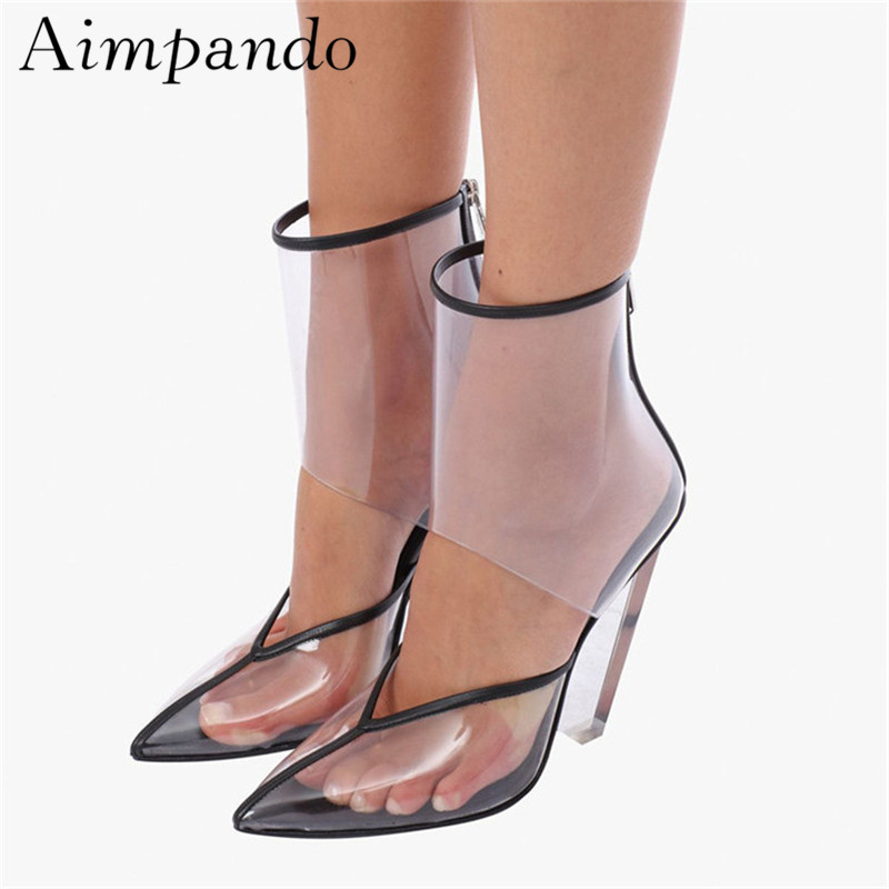 Mode Transparent PVC Catwalk bottines femmes bout pointu cristal clair pointe talon découpes courtes chaussons pour femme