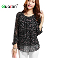 {Guoran}  Plus Size Women Chiffon Blouses L-4XL Black White Ladies 2016 Summer O-neck Shirt Long Sleeve O-neck Female Tops femme