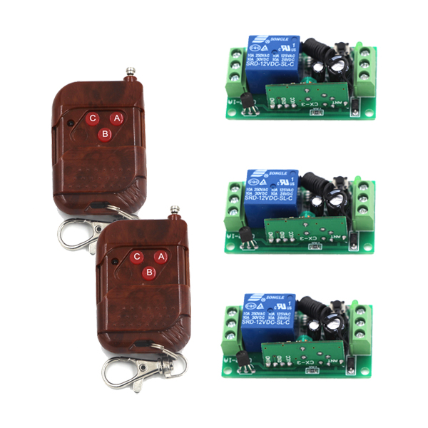 High Quality Relay 3 Receiver Waterproof 2 Transmitters Light LED Lamp Remote Controller Learning Smart 315/433MHZ