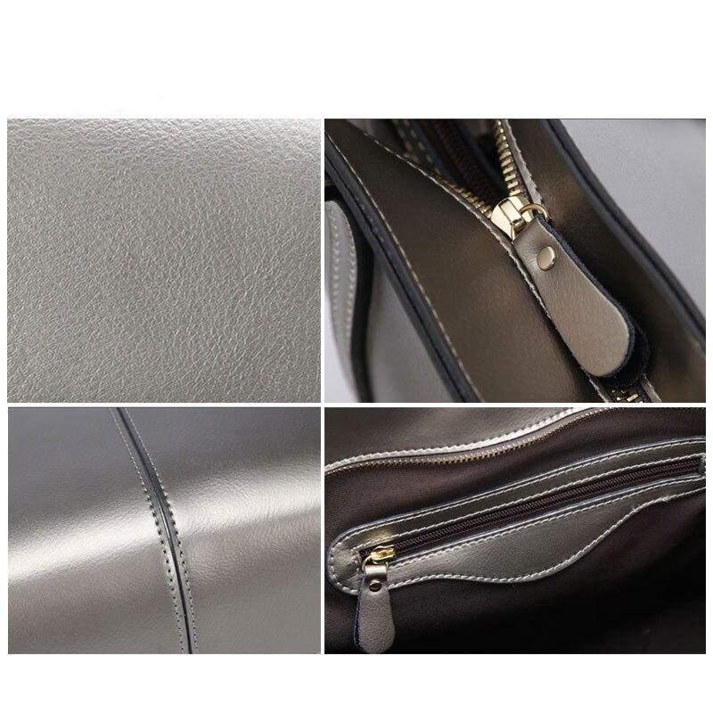 nova bolsa em couro genuíno Color : Black/silver/burgundy/blue