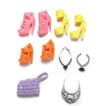 1 set new year present for kids Plastic Chain Necklace Bags Shoes For Barbie Doll Party Accessories baby girl birthday(China)