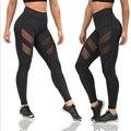 Leggings Aptitud de las mujeres Mesh Patchwork Leggings Más El Tamaño de Cintura Elástica Pantalones Flacos Nueva Quick Dry Pantalones de Mujeres CK04