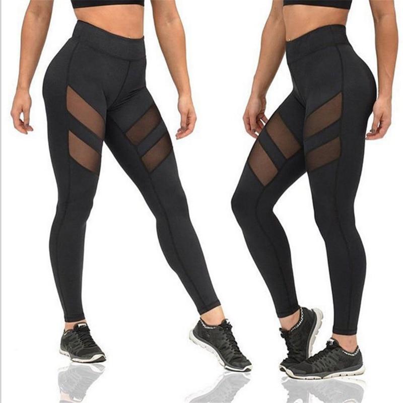 Naiste säärised Fitness Skinny Mesh Patchwork Leggingsid Elastsed vööümbrised Püksid uutele kiiretele kuivadele püksidele CK04