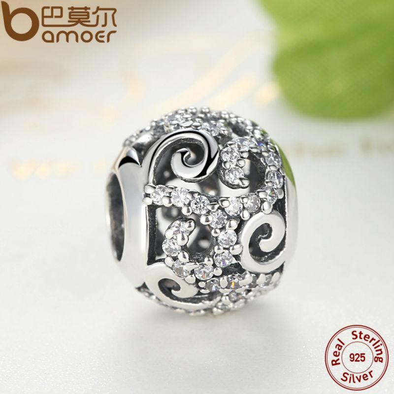 BAMOER Brand Hotsale 925 Sterling Silver Crystal Round Charms Passar - Märkessmycken - Foto 3
