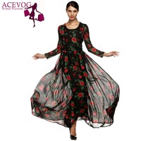 ACEVOG Autumn Dress Fashion Women Ladies Tunic Maxi Long Chiffon Dress Long Sleeve Floral Rose Dress Plus Size S XXXL Vestidos