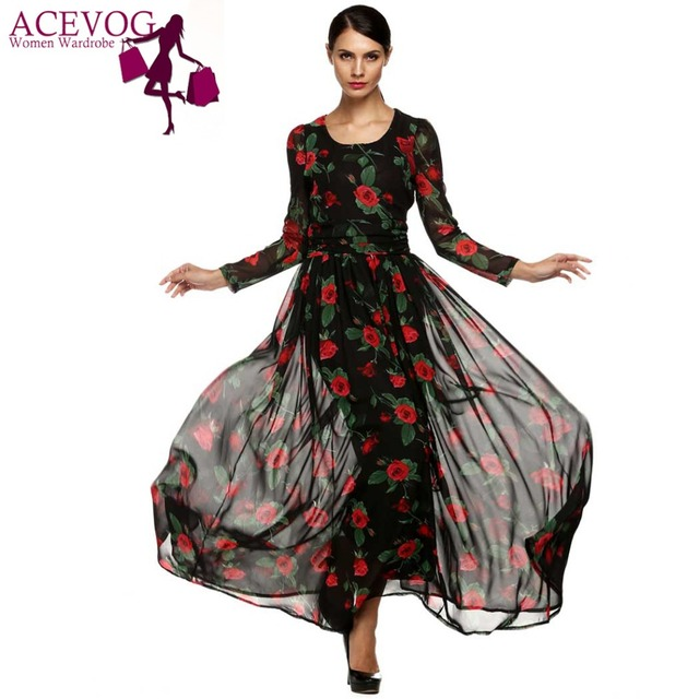 ACEVOG Herfst Jurk Mode Vrouwen Dames Tuniek Maxi Lange Chiffon Jurk Lange Mouwen Bloemen Rose Jurk Plus Size S-XXXL Vestidos