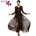 ACEVOG Otoño Vestido de Moda de Las Señoras Túnica Vestido Largo Maxi de La Gasa Floral de Rose de Manga Larga Vestidos Del Vestido Más El Tamaño S-XXXL