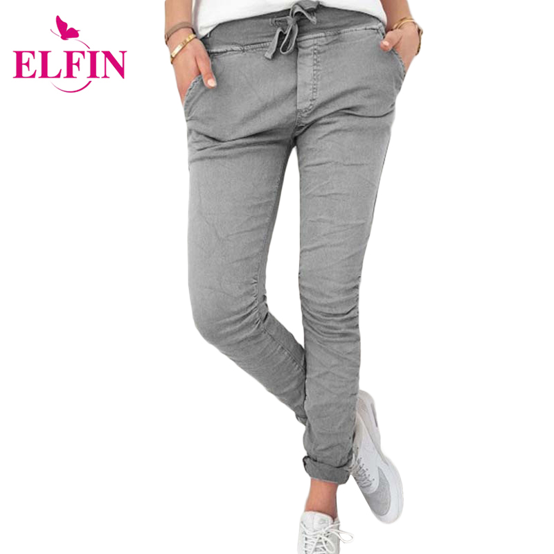 2017 Casual Slim High Elastic Pencil Pants Women Solid Bandage With Pockets Autumn Trousers For Women Pantalon Femme WS3432R