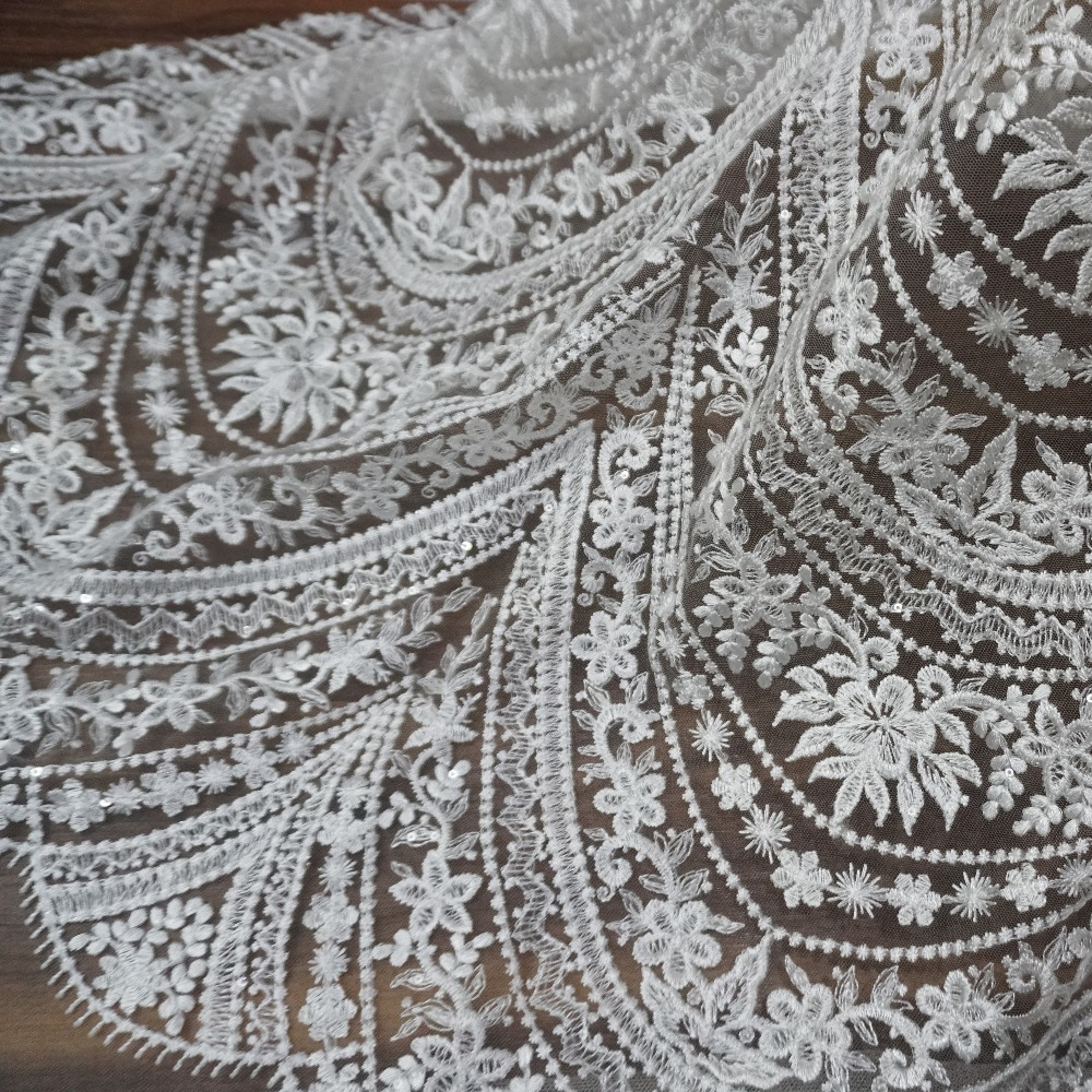 2018 NEW Arrival Women Formal Dress Gowns Lace Fabric 1 Yard Ivory Lace Fabric Embroidered Tulle Mesh Wedding Lace With Sequins!