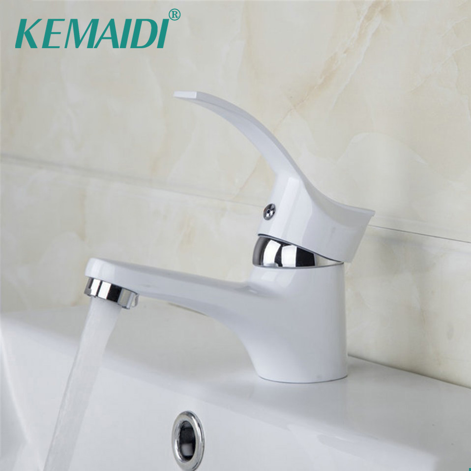 KEMAIDI Bathroom Faucet Basin Sink Faucet Hot&Cold Water Mixer Tap White Single Handle Bathroom Sold Brass Bathroom Sink Faucets single handle white ceramic bathroom faucet single hole wash basin faucets bathroom tap chorm brass water faucet for bathroom