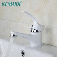 KEMAIDI Bathroom Faucet Basin Sink Faucet Hot&Cold Water Mixer Tap White Single Handle Bathroom Sold Brass Bathroom Sink Faucets