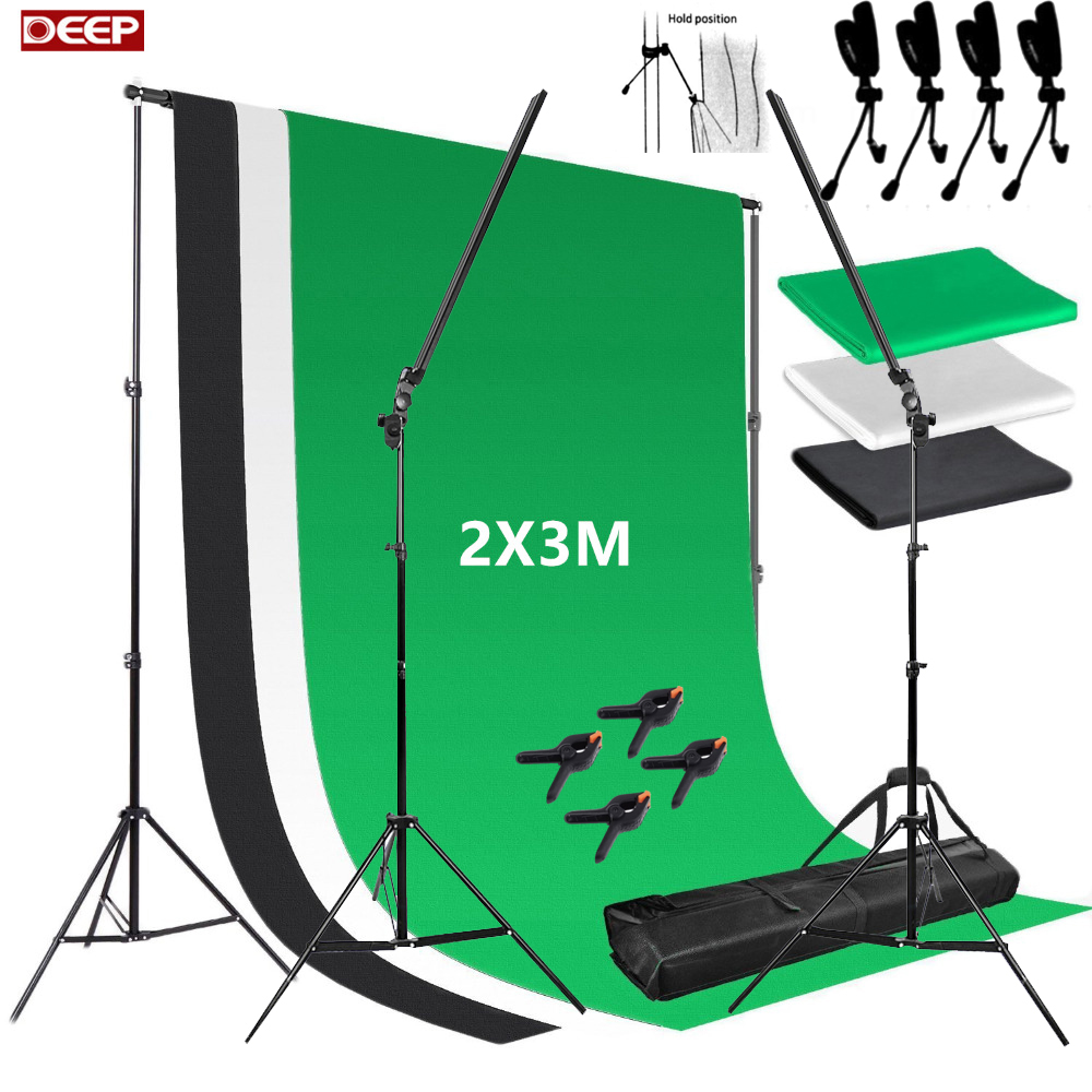 Photo Studio Professional Led Strips Photography Lighting Dimmer Switch 2 Light Stands 1Kit Background Stand Kit