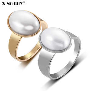 Rings for Jewelry Stainless-Steel Gold-Silver-Color Titanium Women Imitation-Pearls-Ring
