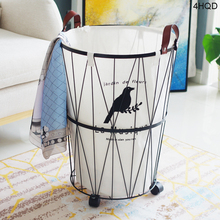 цена на Iron Round Storage Basket Multifunction Baby Kids Toys Storage Furnishing Waterproof Cloth Luandry Basket Home Decoration Gift