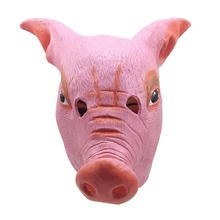 Halloween Creepy Cute Animal Prop Mask Latex Unisex Scary Pink Pig Head Cosplay Party Boar Costume