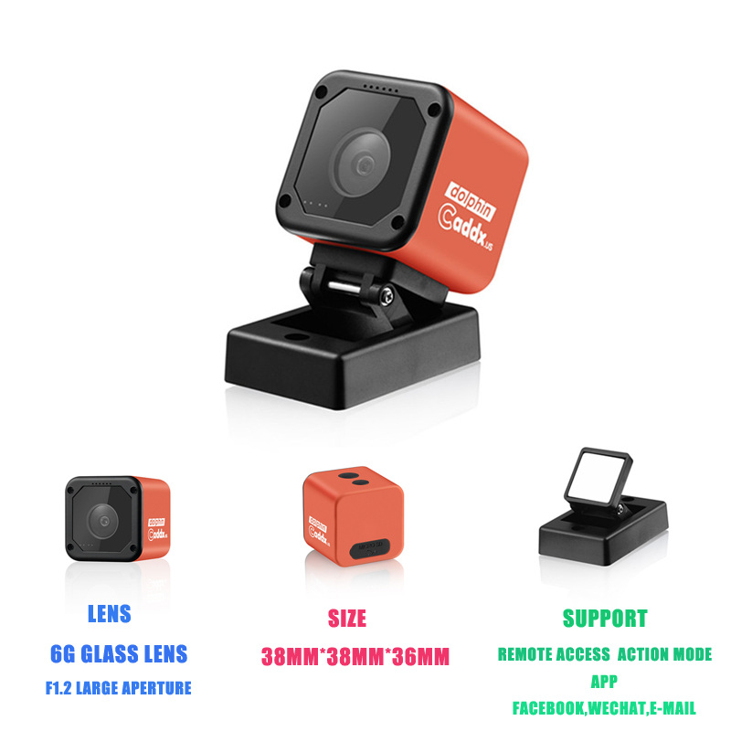 In Stock Caddx Dolphin Starlight 1080P DVR HD Recording Wifi 150 Degree Mini Action Sport Camera Internet Stream Cam Parts