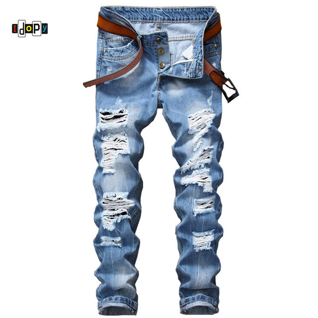 ccc06a2b787 Idopy Men`s Ripped Jeans Button Closure Slim Fit Distressed Destroyed Denim  Joggers Pants For Young Men
