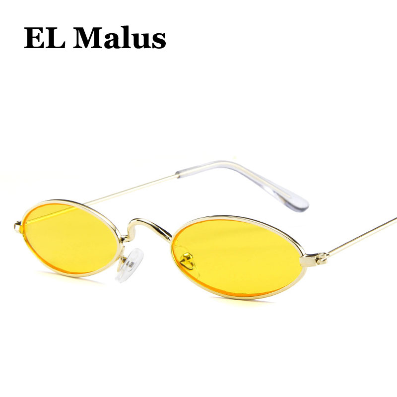 [EL Malus]Sexy Small Little Thin Oval Frame Sunglasses Women Men Gold Vintage Pink Red Yellow Lens Reflective Female Red Eyewear