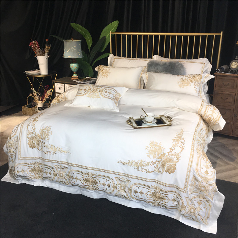 Luxury Golden White 100S Egyptian cotton Embroidery Bedding sets Queen King Royal Duvet cover Bed sheet set Pillowcases 4/6pcs