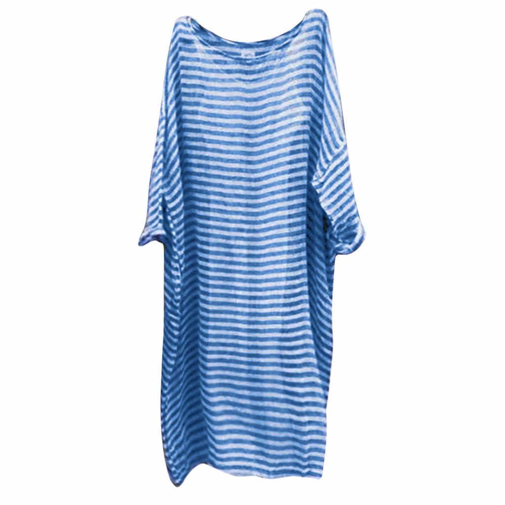 2019 MAXIORILL Nouvelles Femmes grande taille décontracté Lin Ample Chauve-Souris Imprimé À Rayure Manches Longues Maxi Robe платье Gros y3