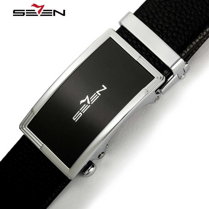 Seven7 marka prawdziwy skórzany pasek mężczyźni luksusowe projektant biznes praca sukienka pasy mężczyzna automatyczne klamry wysokiej jakości 114P90260