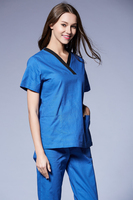 SS2016 New Medical Scrubs Women 100% cotton Short Sleeve Scrub Uniforms Set Dental Hospital Surgical Clothes Contrast Piping