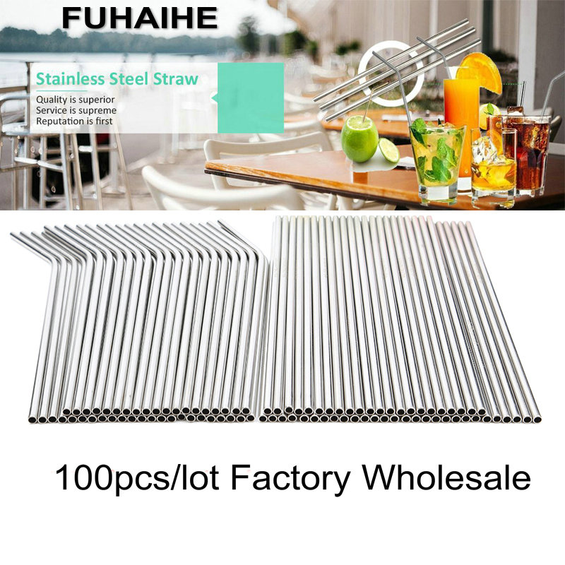 FUHAIHE 100pcs/lot Metal Straw Reusable Wholesale Stainless Steel Drinking Tubes 260mm*6mm Straight Bent Straws For Drink