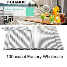 Fuhaihe 100ピース/ロット金属わら再利用可能な卸売ステンレス鋼の飲料チューブ215ミリメートル * 6ミリメートルストレート曲がっストロードリンク